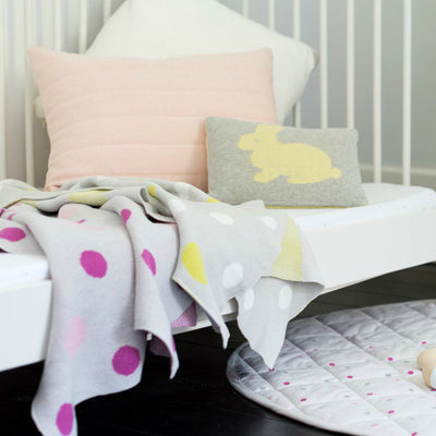 Yellow Polka Dot Baby Blanket by Mint & Me