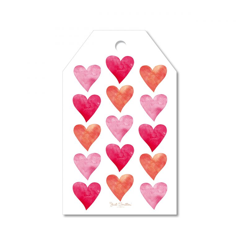 Watercolour Hearts Gift Tag