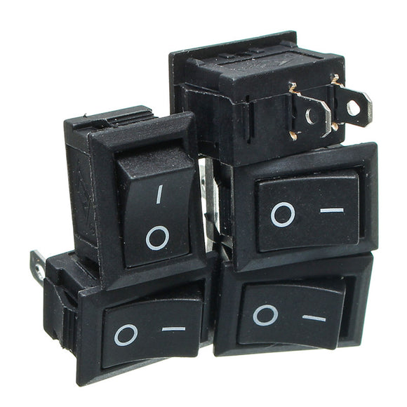 Rocker Switch ON/OFF, 6A/250VAC or 10A/125VAC, Qty: 5pcs, FREE SHIPPING