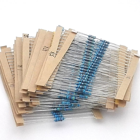 Metal Film Resistor 1/4W 1%,  30 Types (10 ohm - 1M ohm) Qty: 20 pcs each, Total Qty: 600pcs, FREE SHIPPING