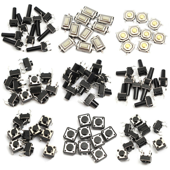 Push Button Switches(Momentary) Kit, TH & SMD, 14 types, Qty: 10pcs each type, Total Qty: 140pcs, FREE SHIPPING
