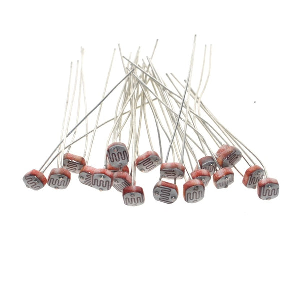 Light Dependent Resistor(LDR),  Bright: 8kΩ-20kΩ, Dark: 1MΩ, Diameter: 5mm, Qty: 20pcs, FREE SHIPPING
