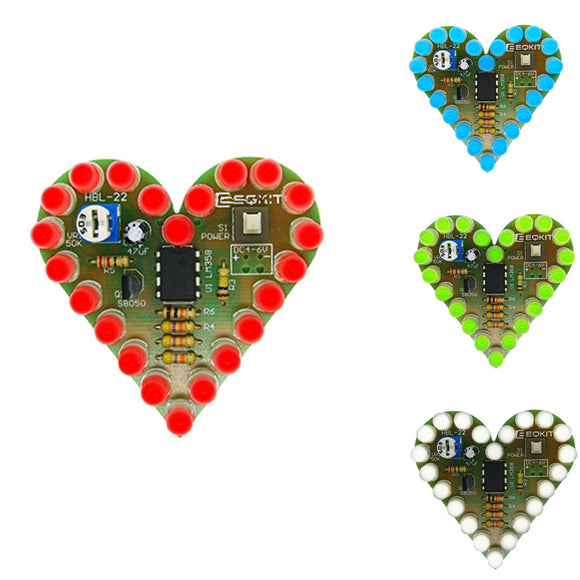 Heart Shape Blinking LEDs, 4-6V DC, DIY Kit, FREE SHIPPING