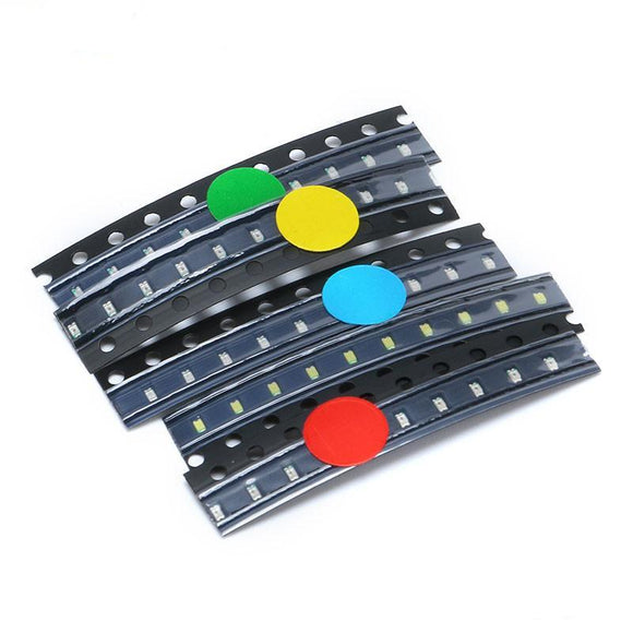 Light Emitting Diodes(LEDs) SMD, 0603, 5 Types: Red, Yellow, Blue, Green, White (Qty: 10 pcs each), Total Qty: 50pcs