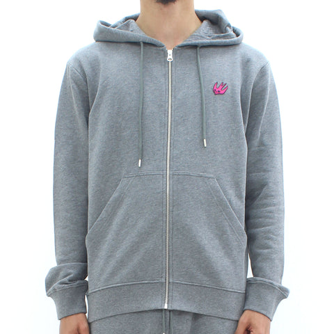 Swallow By McQ Classic Zip Through Swallow Hooded Sweat Grey - Pilot Netclothing