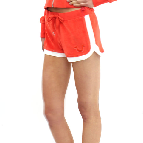True Religion Velour Retro Runner Shorts Orange - Pilot Netclothing
