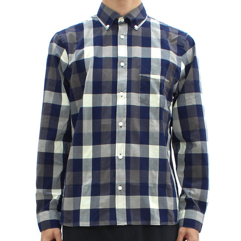 Aquascutum Luke Indigo Check LS Shirt Navy - Pilot Netclothing
