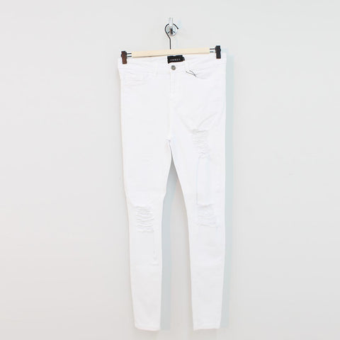 Sinners Attire Spray On Distressed Jeans White