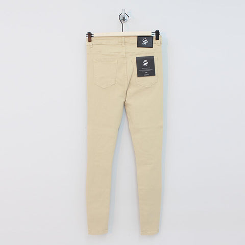 Sinners Attire Spray On Distressed Jeans Sand