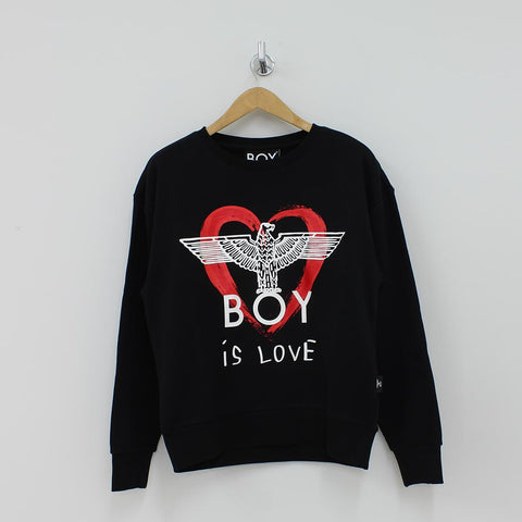 Boy London Heart Eagle Sweat Shirt Black - Pilot Netclothing