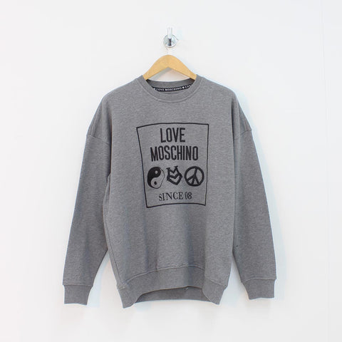 Moschino Square Logo Sweat Shirt Grey