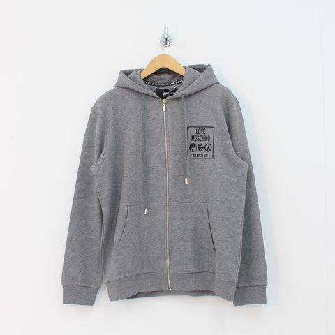 Moschino Square Logo Hooded Top Grey
