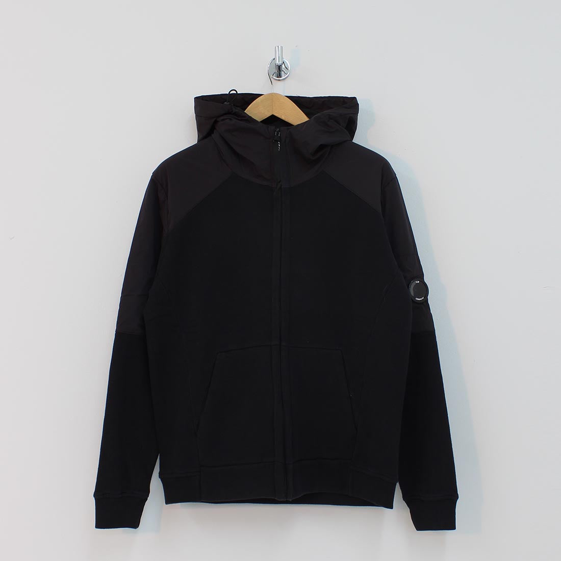 CP Company Arm Lens Hooded Sweat Shirt Black