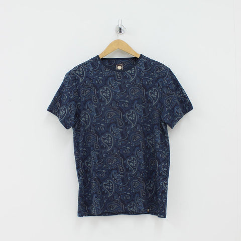 Pretty Green Paisley Print T-Shirt Blue
