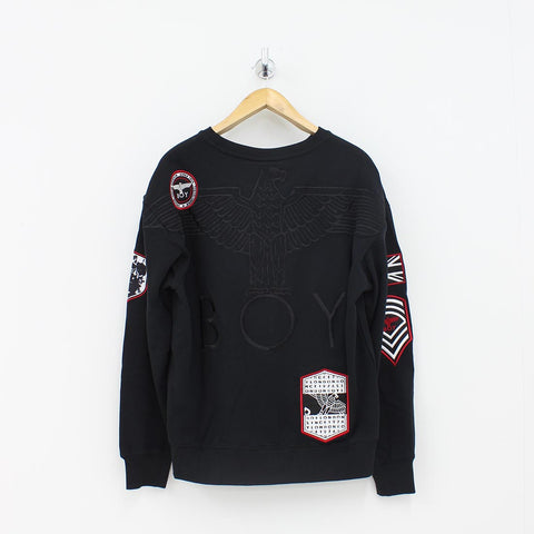 Boy London Boy Patch Sweat Shirt Black - Pilot Netclothing