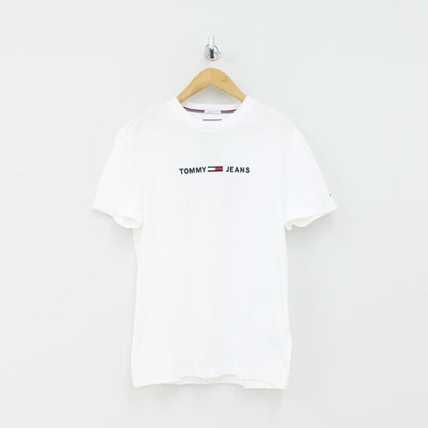 Tommy Hilfiger Small Text Logo T-Shirt White - Pilot Netclothing
