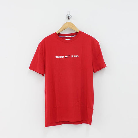 Tommy Hilfiger Small Text Logo T-Shirt Red