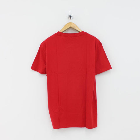 Tommy Hilfiger Small Text Logo T-Shirt Red - Pilot Netclothing