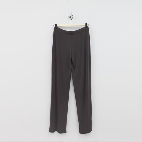 Unique Woman Silky Jersey Wide Pant Green
