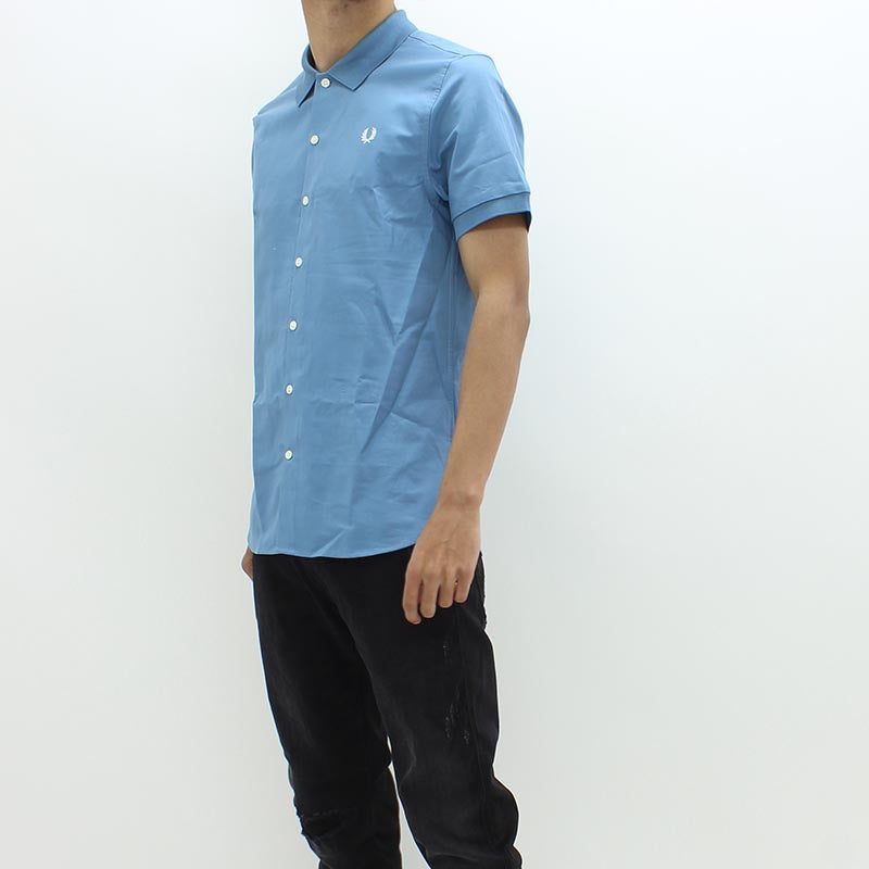 Fred Perry Ribbed Oxford Shirt Blue