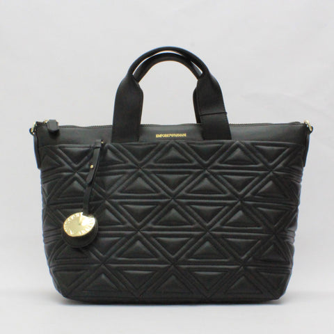 Emporio Armani Triangle Quilt Bag Black