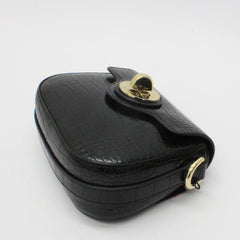 Emporio Armani Small Croc Saddle Bag Black