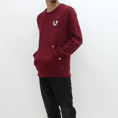 True Religion Core Metallic Pullover Crew Sweat Burgundy