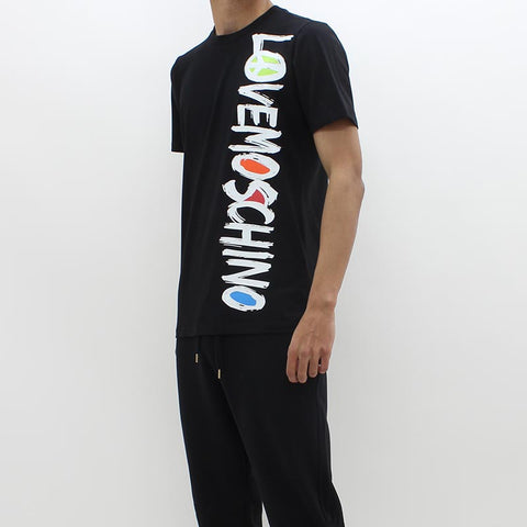 Love Moschino Brush Logo Print Tee Black - Pilot Netclothing