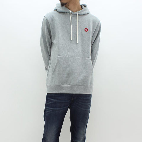 Wood Wood Double AA Hooded Sweat Grey - Pilot Netclothing
