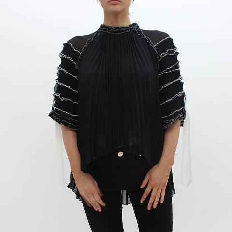 Forever Unique High Necked Blouse Black - Pilot Netclothing