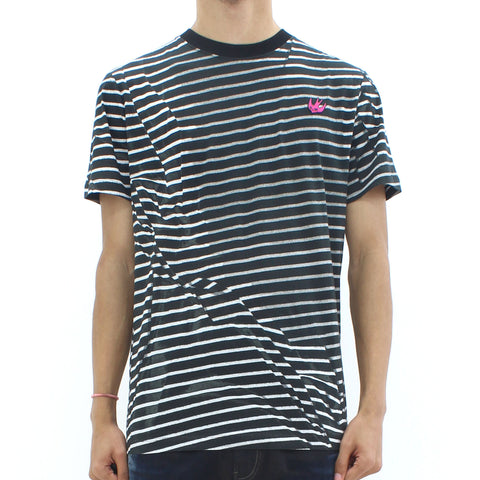 Swallow By McQ Broken Stripe Tee Black - Pilot Netclothing