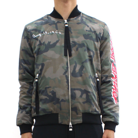 Mens - Blood Brother Loyal Camouflage Bomber Jacket Khaki
