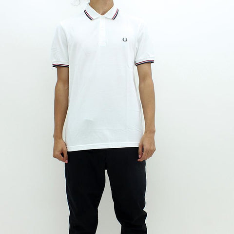 Mens - Fred Perry Twin Tipped Polo White