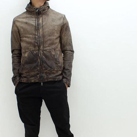 Mens - Giorgio Brato Hooded Leather Jacket Brown