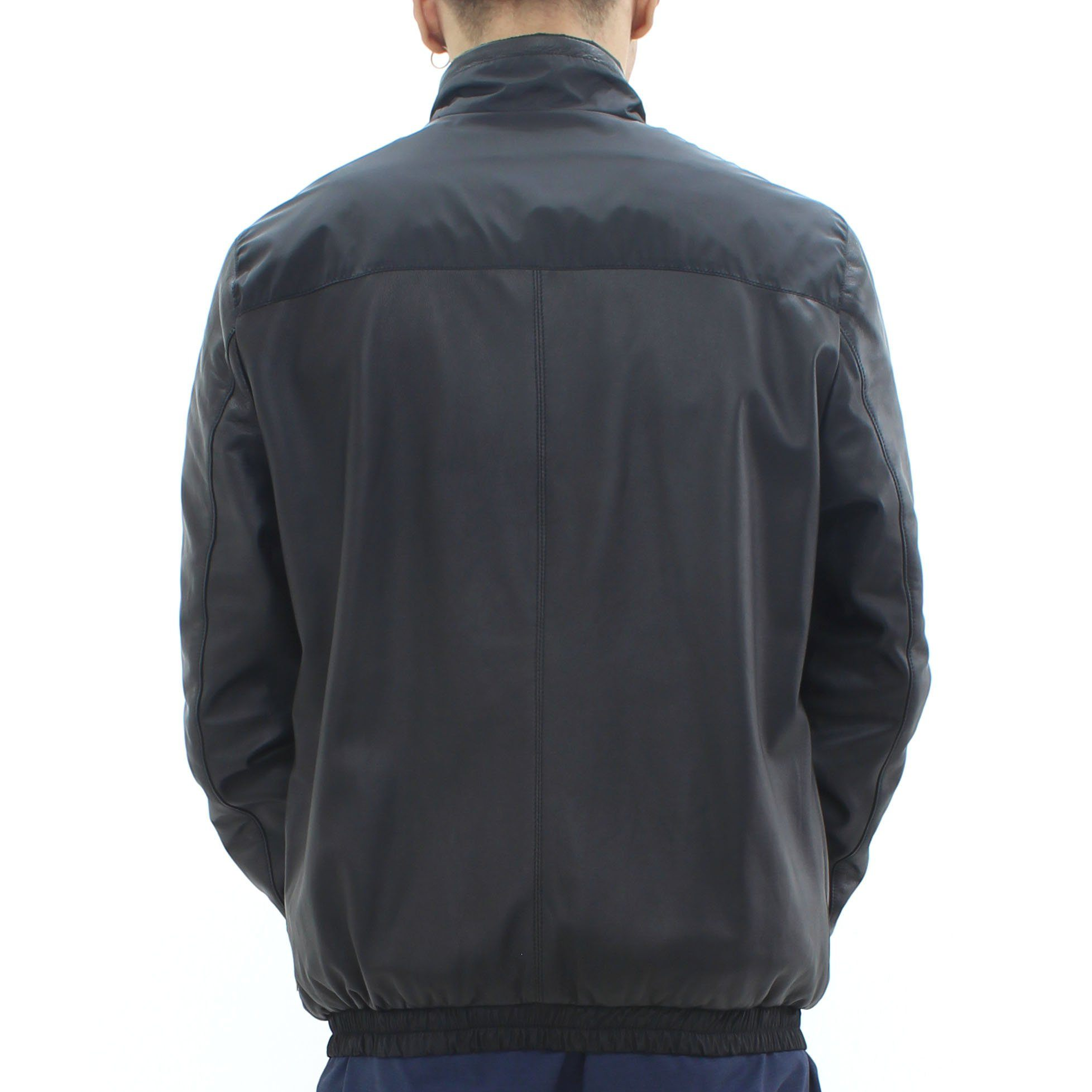 Low Brand Leather Nylon Jacket Black