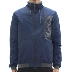 Low Brand Nylon Leather Trimmed Jacket Navy