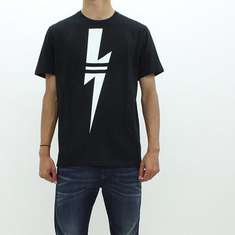 Mens - Neil Barrett Bolt Front And Back Tee Black