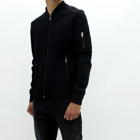 Mens - Neil Barrett Knit Bomber Jacket Black