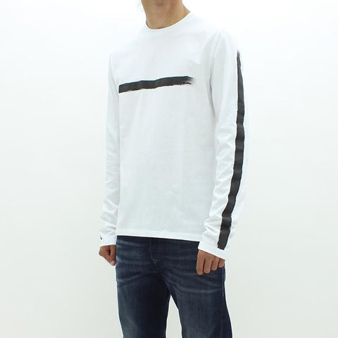 Mens - Neil Barrett Line Through LS Tee White