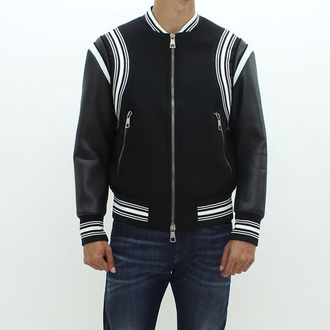 Mens - Neil Barrett Luxury Bomber Jacket Black