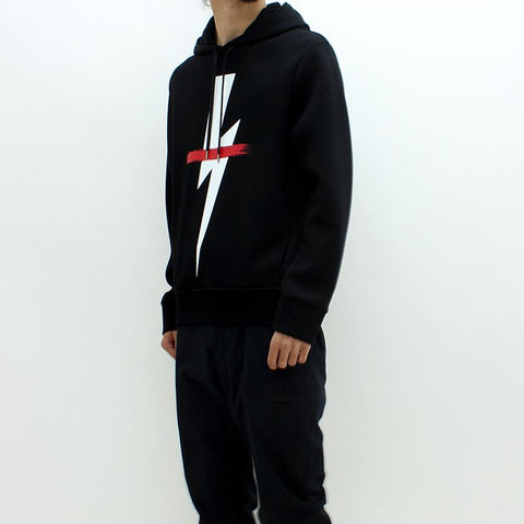 Mens - Neil Barrett Thunderbolt Hooded Sweat Black
