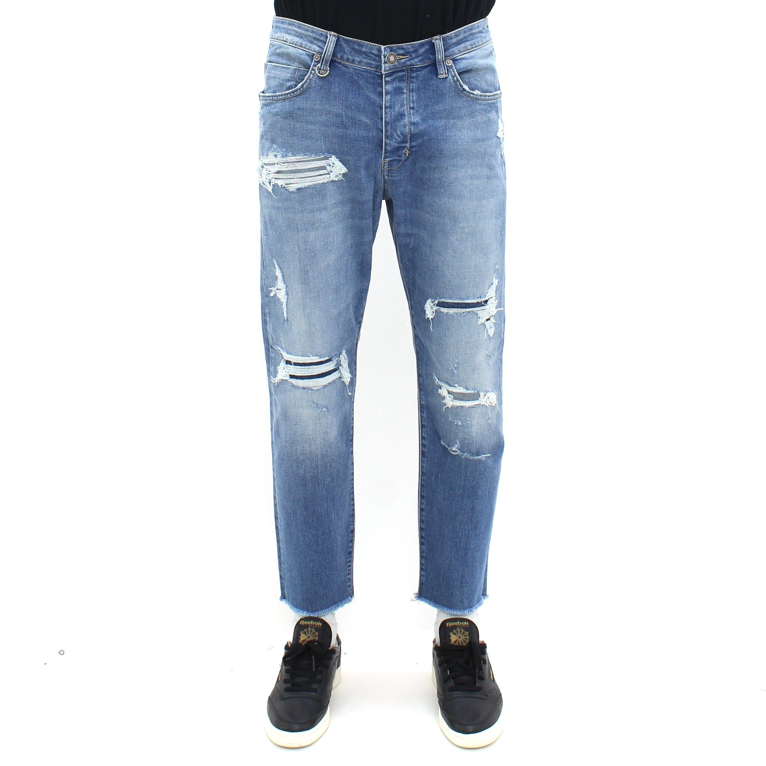 Neuw Iggy Crop Distressed Denim Jean Blue
