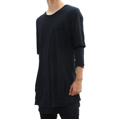 Mens - Thom Krom Elongated Double Layered Tee Black