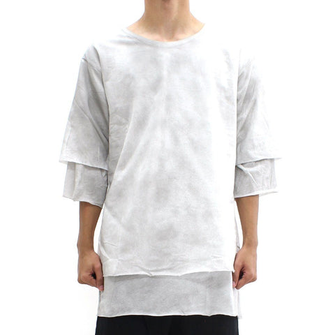 Mens - Thom Krom Scoop Dual Layered Tee White