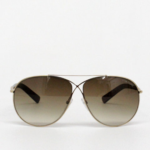 Mens - Tom Ford Eva Gold Framed Sunglasses Brown