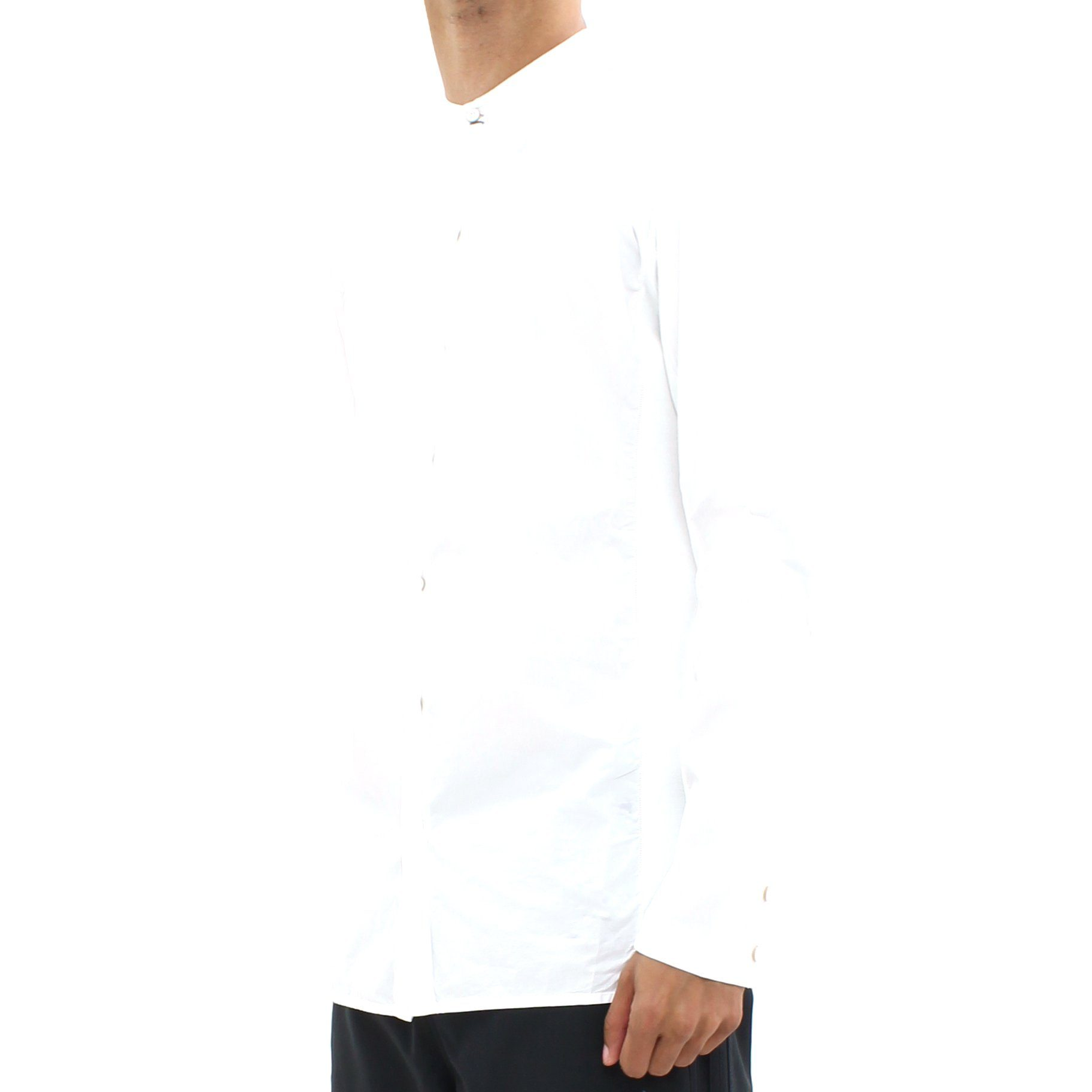 Transit Collarless LS Shirt White