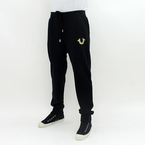 Mens - True Religion Metallic Gold Cuffed Sweatpant Black