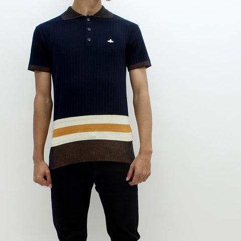Mens - Vivienne Westwood Knitted Block Polo Navy