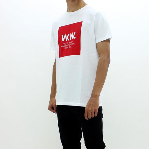 Mens - Wood Wood WW Square Block Tee White