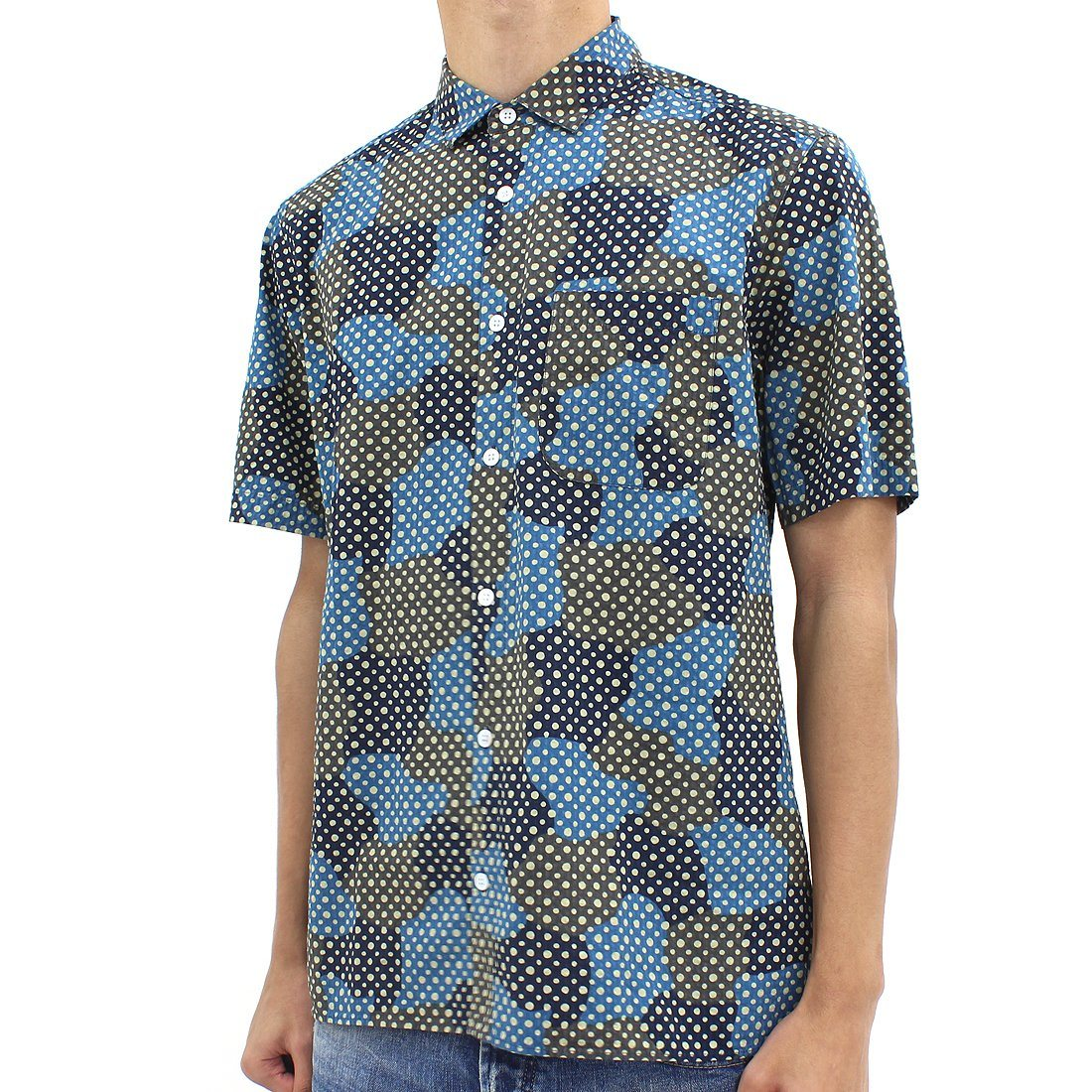 YMC Polka Dot Cloud Shirt Blue